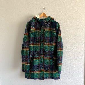 MINKPINK Green Plaid Coat Sherpa Lined Hood Blue